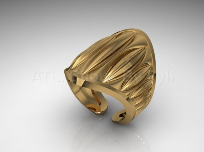 Cocoa Pod Ring – Size 5 - 8 3d printed Gold