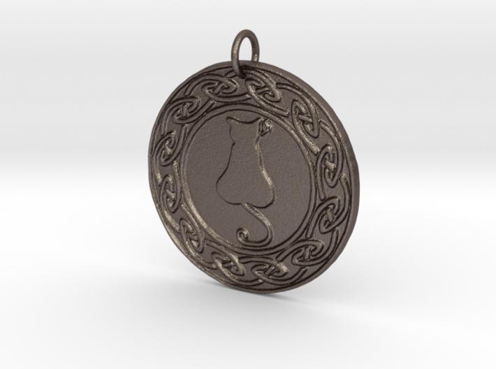 Celtic Cat Pendant 3d printed