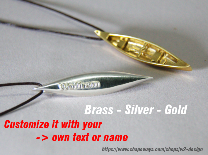 Silver-Canoe with your Text / Name 3d printed