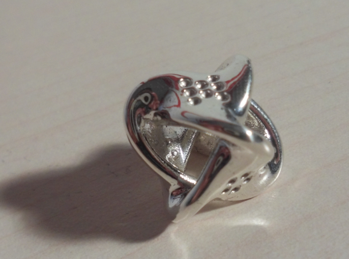 Unusual twisted D8 (bumps inside) 3d printed Extra Small - Polished Silver