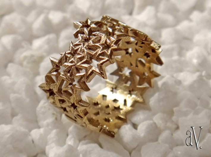 Scatter 6 Sided Stars Ring 3d printed