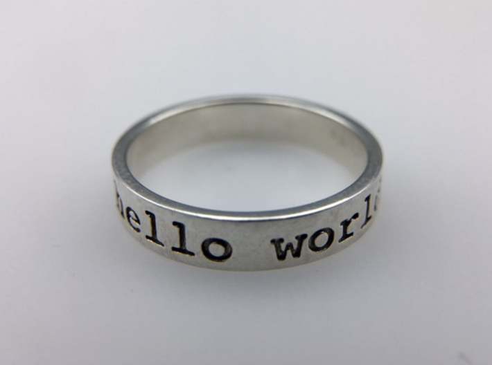 Hello World Ring 3d printed 3D printed product in Polished Silver