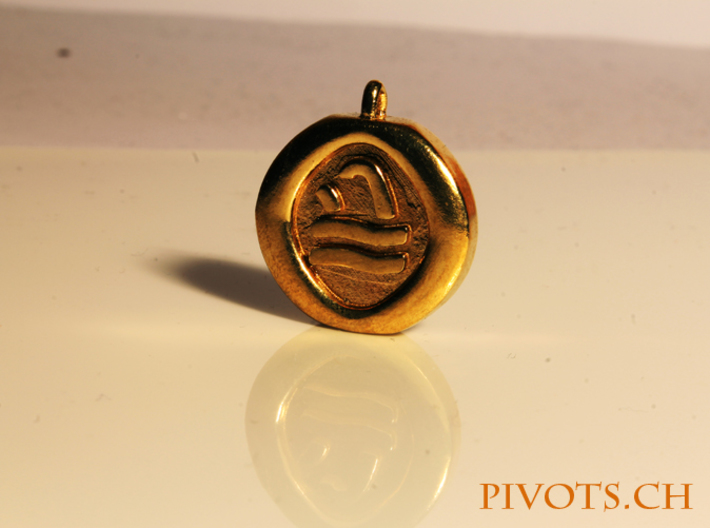 4 Elements - Water Pendant 3d printed Raw Brass