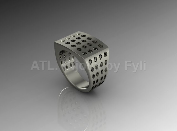 Chevalière Style Ring with Polka-Dots 3d printed Platinum