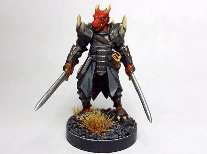Dragonborn w/ Longswords 3d printed Painted with acrylic paints and mounted on a custom 1 inch base.