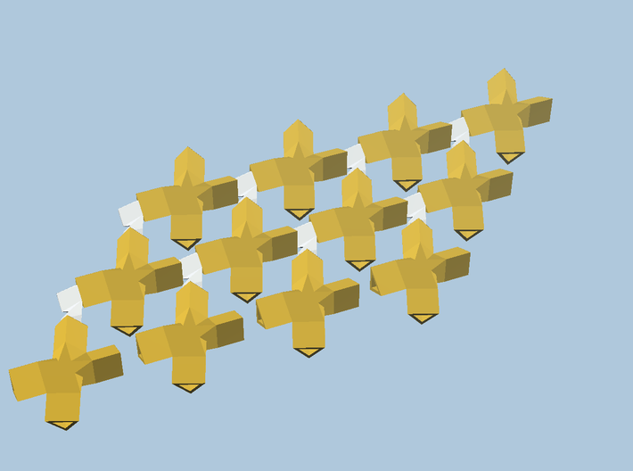 12 yellow cross-bobs, green plane 3d printed