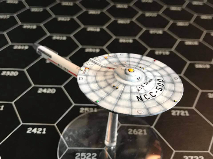 3125 Scale Franz Joseph Federation Destroyer (DD) 3d printed Ship (Frosted Ultra Detail material) is painted by a fan. Stand not included.