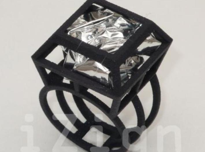 ring06 17 3d printed Black Strong & Flexible dressed up with a silver wrapper (not included)