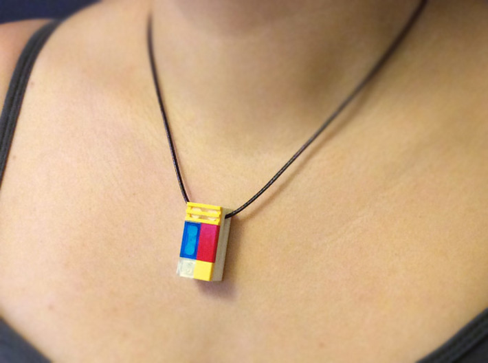 bX Necklace (2x4) 3d printed White Strong & Flexible Polished (String and Lego pieces not included)