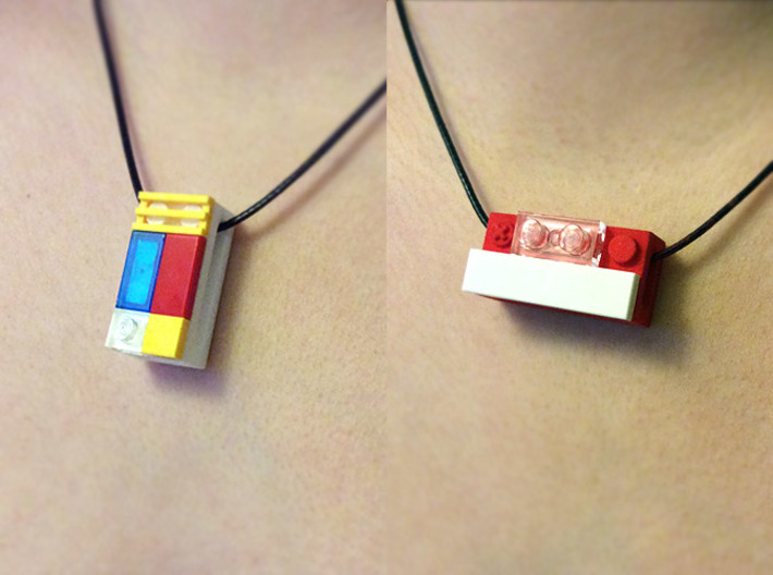 bX Necklace (2x4) 3d printed White + Coral Red Strong & Flexible Polished (String and Lego pieces not included)