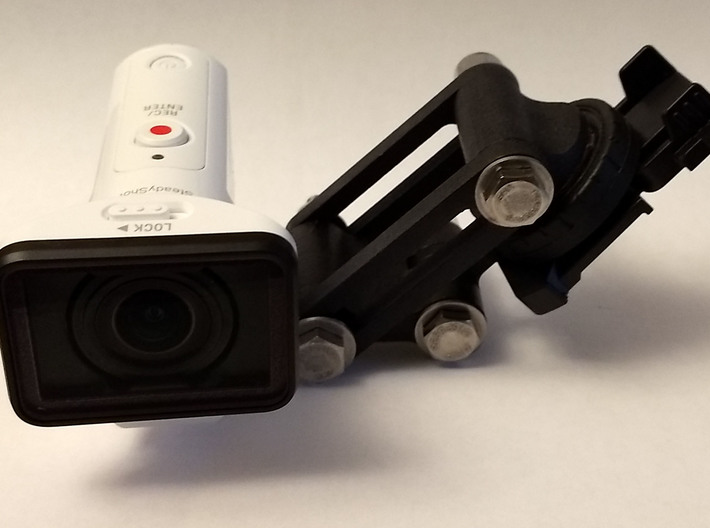 Action Camera Helmet Stabilizer Kit 3d printed Assembled kit in white S&F polished dyed black with Fiebing's leather dye. (Hardware not included)