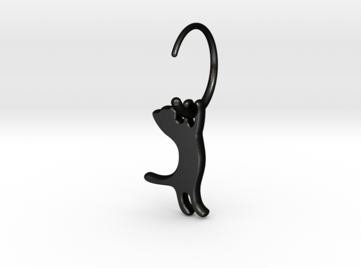 hanging cat earring small 3d printed