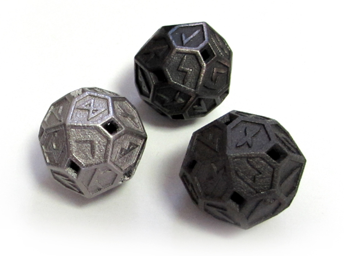 Elder Futhark Die24 3d printed In (from left) Polished Nickel Steel, Polished Gray Steel, and Matte Black Steel