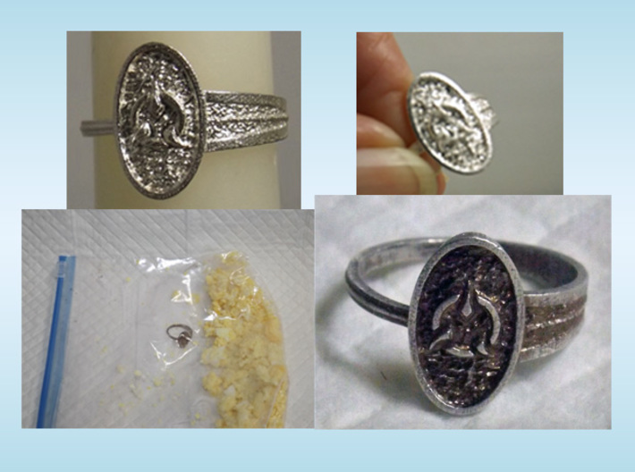 Archway Ring 3d printed (click text for more) Non-chemical process to add patina! Hard Boiled egg in a zip bag, add the ring & watch the color change. Finish by polishing as desired.