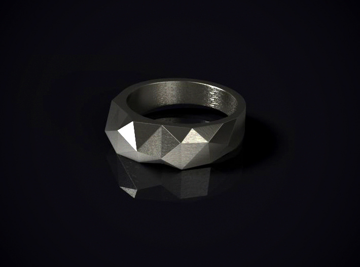 Tri Morph Ring 3d printed 3D render of the ring in Stainless Steel