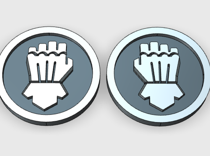 Clenched Fist in Circle Vehicle Insignia pack 3d printed