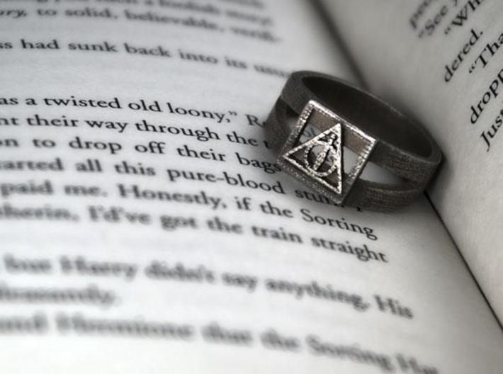 Deathly Hallows Ring Size 11 3d printed 2