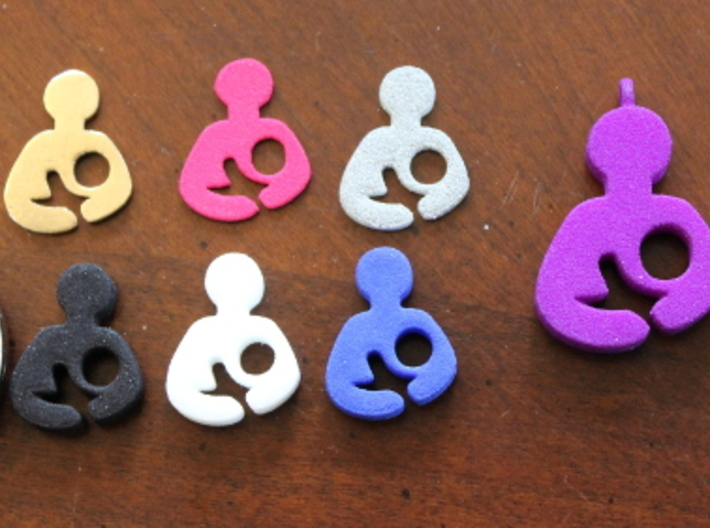 Breastfeeding Pendant 3d printed Breastfeeding Charms/Pendants in a Variety of Materials: Plates- Raw Bronze, Pink Strong & Flexible, Alumide;Charms- Polished Gold Steel (in Locket), Black Strong & Flexible, White Strong & Flexible, Royal Blue Strong & Flexible Polished; Pendants- Violet