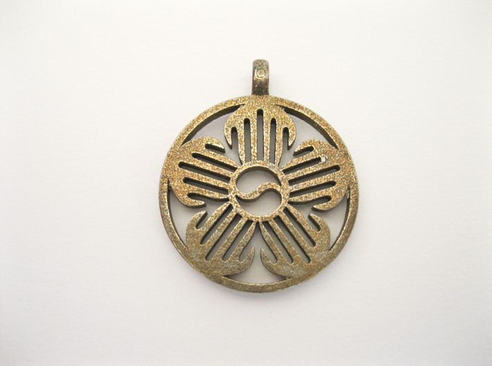 Immortal Flower Pendant 3d printed Shown in Stainless Steel
