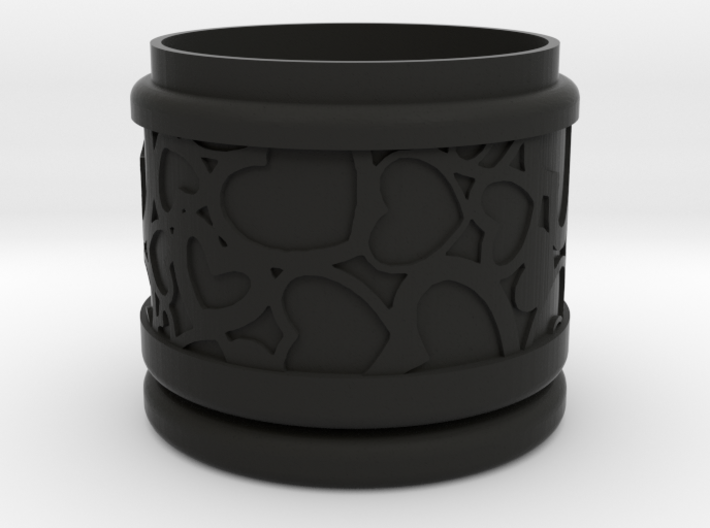 Gift Box round No. 1 with Hearts (solid, short) 3d printed