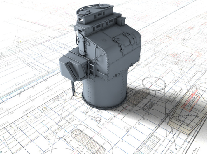 """1/144 Royal Navy Leander Class 6"""" Director 3d printed 3d render showing product detail"""