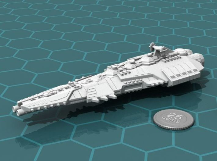 Stravok Dassalk Superdreadnought 3d printed Render of the model, with a virtual quarter for scale.