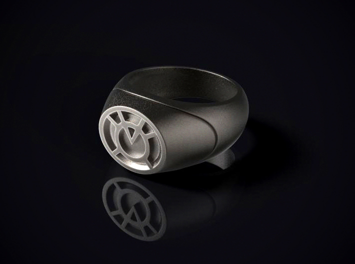 22.2 mm Orange Lantern Ring - WotGL 3d printed 3D render of the ring in Stainless Steel
