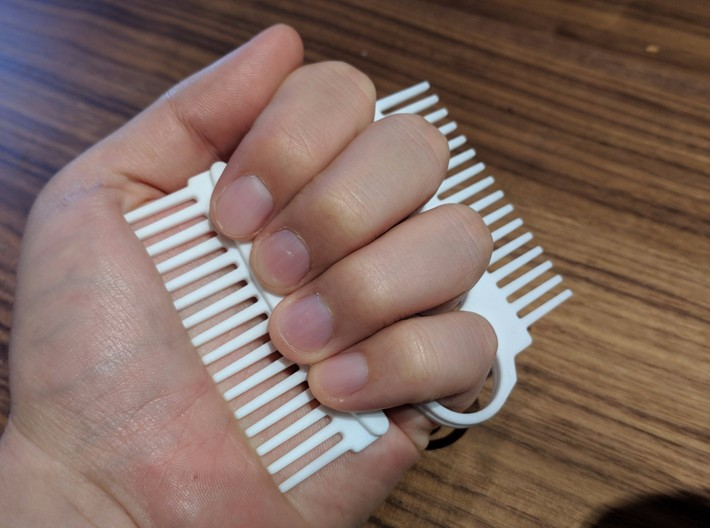 Brass Knuckle Comb/Beard Comb (inward teeth) 3d printed Two versions available, inward and outward teeth, can be used together!