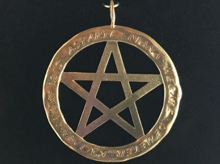 Pentacle pendant - Goddess chant 3d printed Another image of the Goddesses pendant in raw brass.