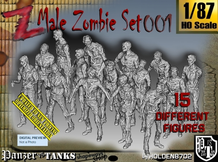 1/87 Male Zombie Set001 3d printed