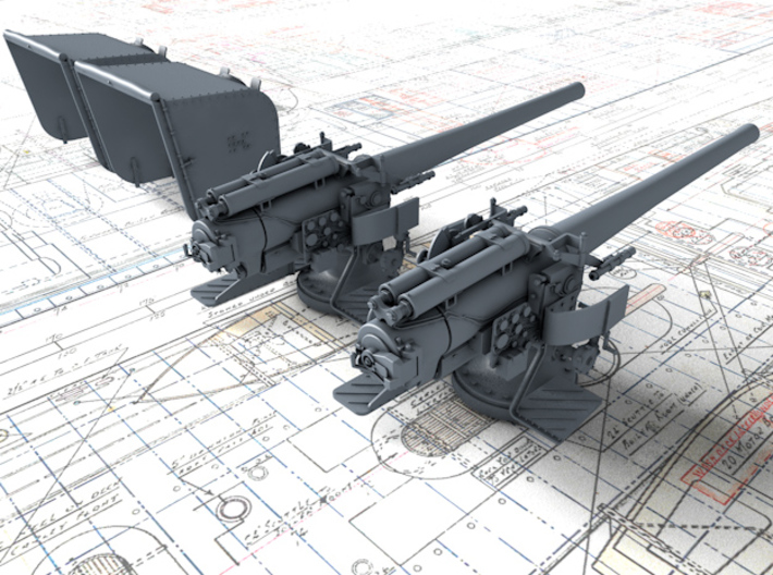 """1/128 6""""/45 (15.2 cm) BL Mark XII with Shield x2 3d printed 1/128 6""""/45 (15.2 cm) BL Mark XII with Shield x2"""