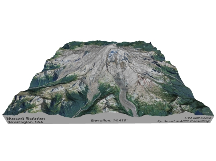 "Mount Rainier Map: 8""x8"" 3d printed"