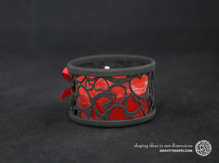 Set of 2 small tealight holders with Hearts 3d printed The photo shows a print made of black strong and flexible incl. red lacing.