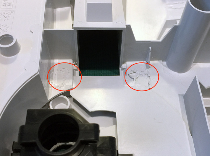 Perfect Grade Falcon, 1:72 Ramp Hall 2: Low Ledge 3d printed Remove these pegs and posts