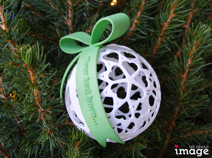 Customizable Christmas Ornament - Hearts 3d printed Add a bow with personalized text