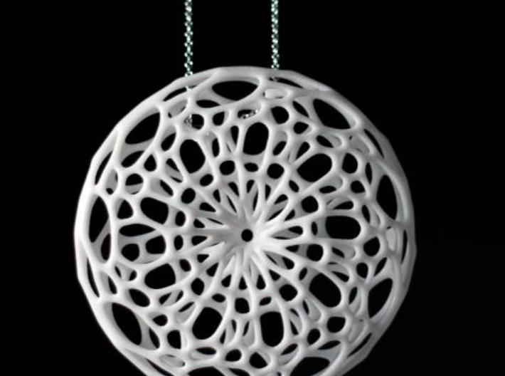 Cellular Pendant 3d printed in White Strong & Flexible polished