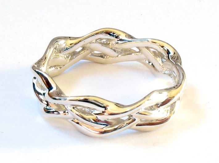 'Swoop' Braid Ring, size 8.25 3d printed Ring printed in premium silver