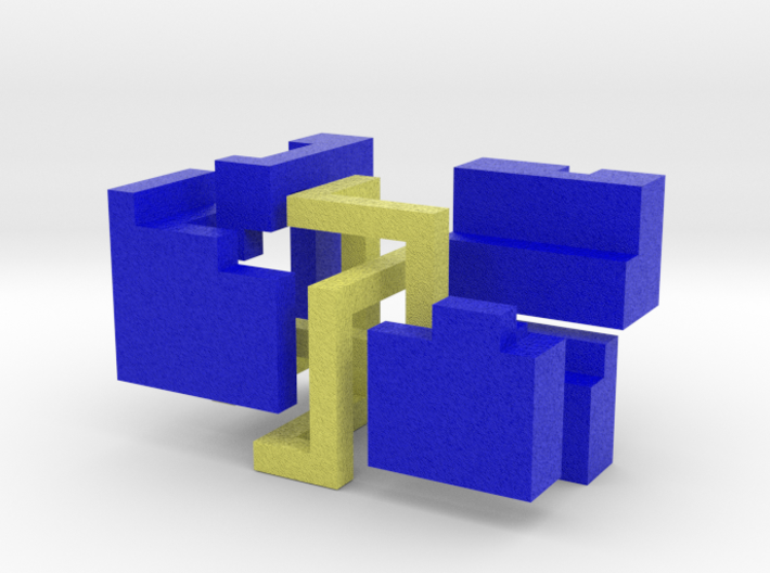 Puzzle mobius knot cube (blue and yellow) 3d printed