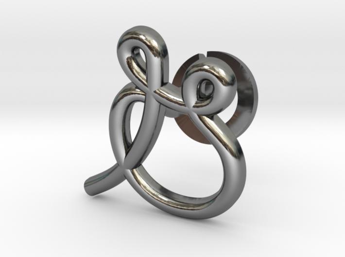 Cursive G Cufflink 3d printed