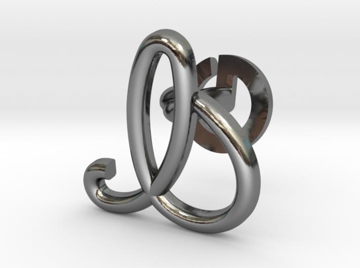 Cursive I Cufflink 3d printed