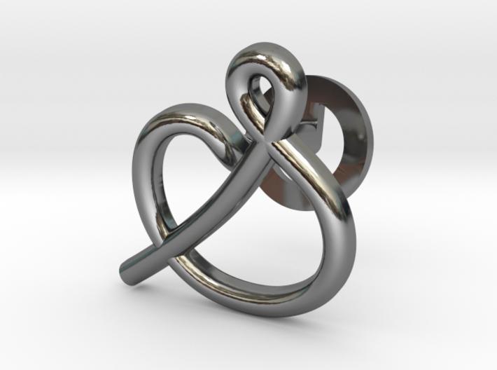Cursive S Cufflink 3d printed