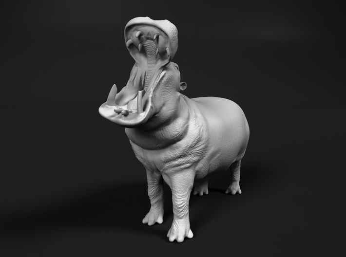 Hippopotamus 1:120 Male with Open Mouth 3d printed