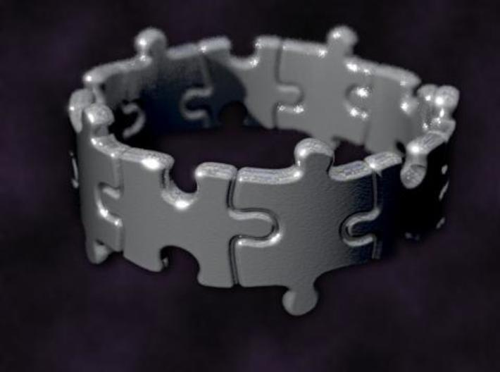 Puzzle Ring 01 size 10 3d printed Rendered to simulate silver