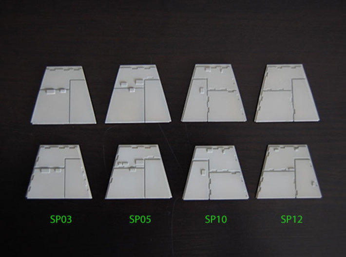 DeAgo Millennium Falcon Airlock side panels 3d printed Comparison, stock panels on the top, modified panels on the bottom