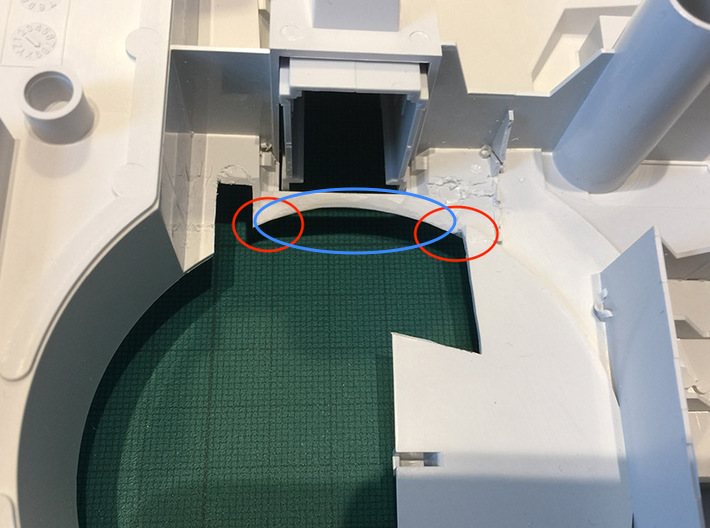 Perfect Grade Falcon, 1:72 Ramp Hall 2: Low Ledge 3d printed Shave the area in blue. Be EXTRA CAREFUL at the areas marked in red!