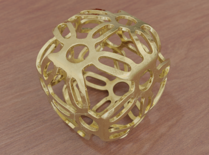 Symmetric Cuboid Structure 1 3d printed Polished Steel (render)