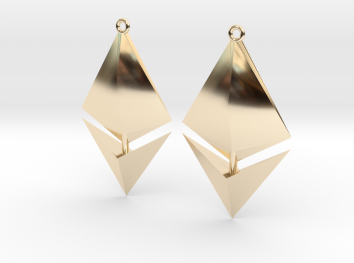 Ethereum Earring Pendants 3d printed