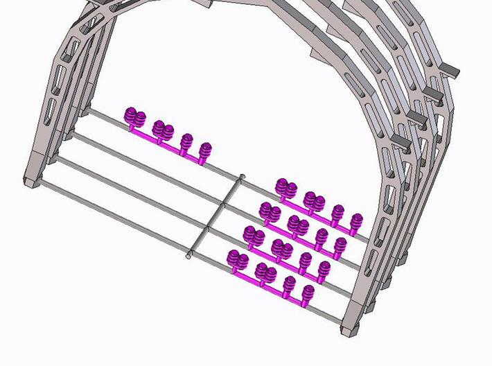 N 4 stuks Gothische Boog NS 3d printed De isolatoren (in paars) worden nu meegeprint