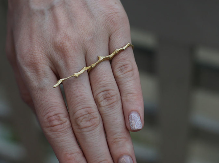 Twig Double Ring 3d printed