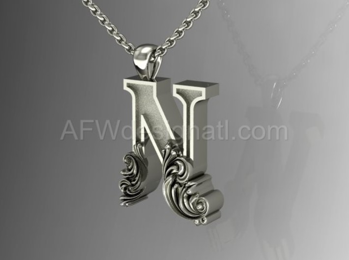 Scroll letter n initial letter pendant qz9n2b6fv by fyli scroll letter n initial letter pendant 3d printed scroll letter n silver aloadofball Gallery